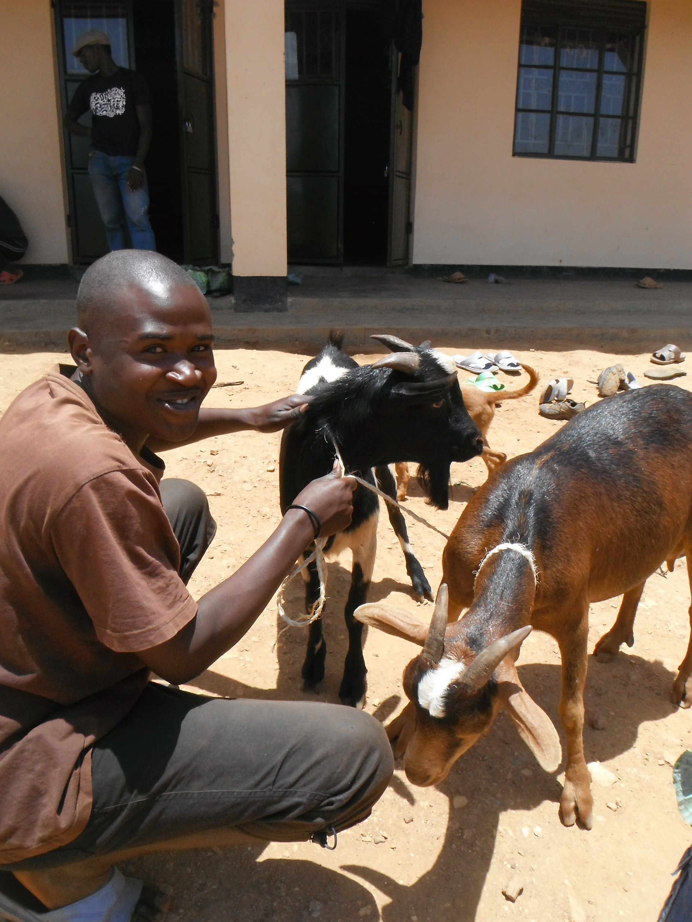 Myumba with our new goat!
